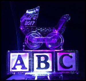Baby carriage on ABC Ice Sculpture