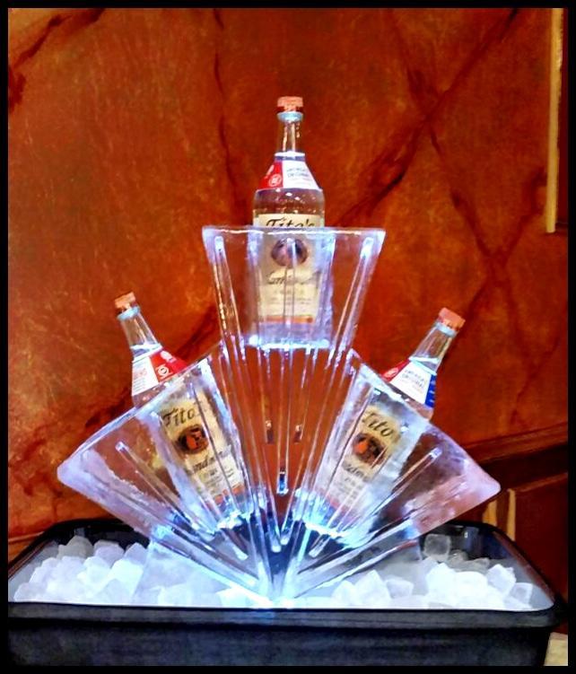 half block ice vodka rack
