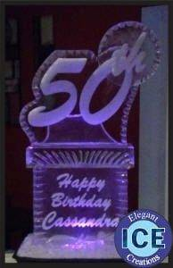 50th Happy Birthday with name Ice Sculpture