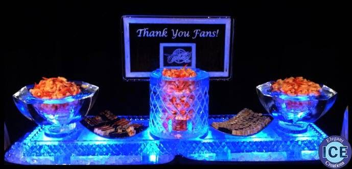 Cleveland Cavs basketball hoop on ice tables with ice bowls ice sculpture