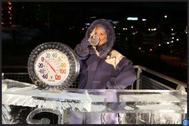 Robin Swoboda enjoying some ice coffee  behind our Ice Desk.