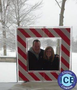 Christmas candy cane ice sculpture frame with color