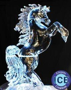 Horse rearing Ice Sculpture