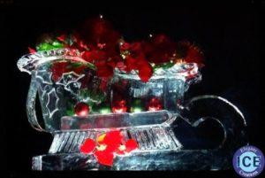 Sleigh ice sculpture