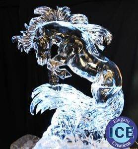 horse bucking ice sculpture