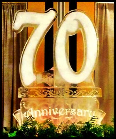 Large Number over Banner Ice Sculpture for Birthdays and Anniversary