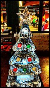 Christmas Tree with real ornaments frozen in Ice Sculpture