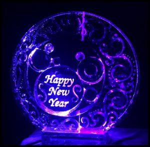 Happy New Year in circles Ice Carving