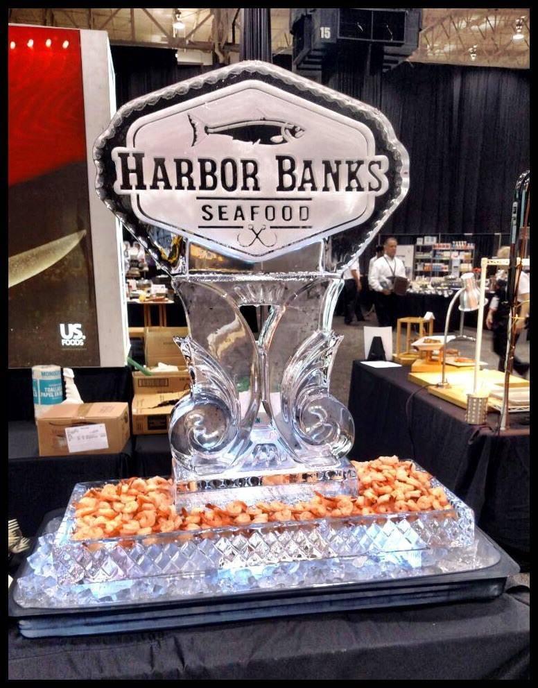 seafood table logo curvy base harbor